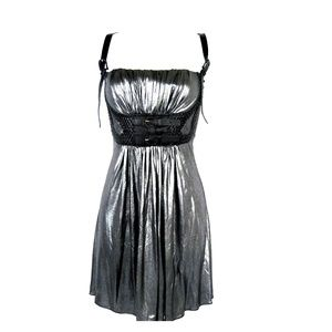 NWT SKY Liquid Metal Silk Mod Metallic Mini Dress